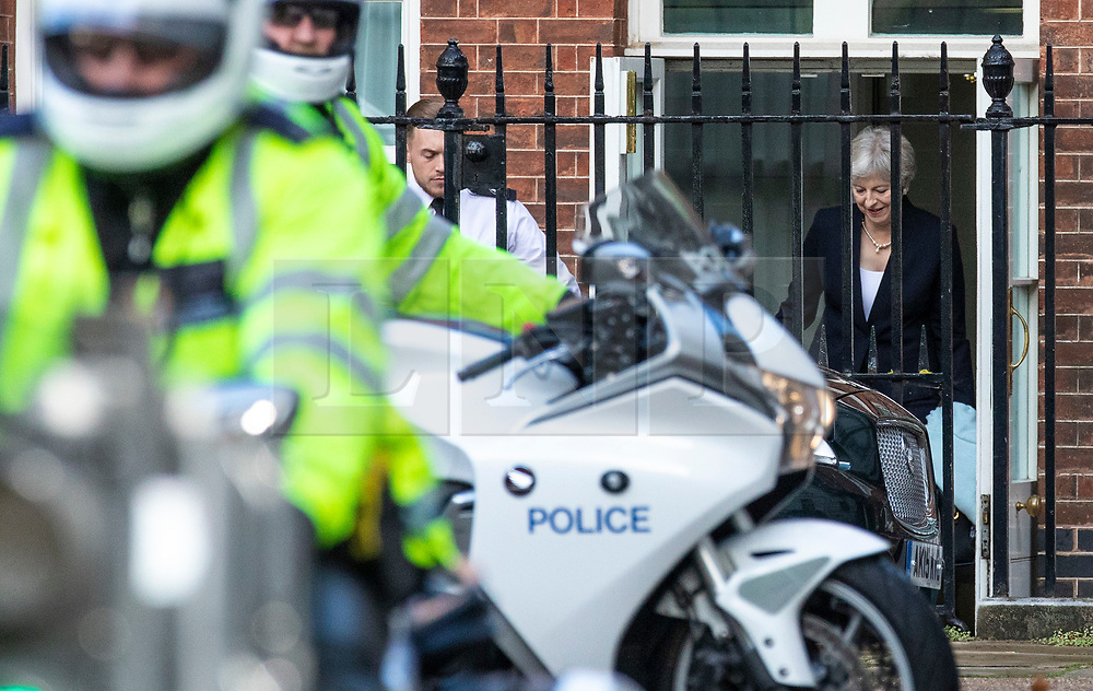© Licensed to London News Pictures. 21/09/2018. London, UK. Prime Minister Theresa May leaves 10 Downing Street after delivering a statement about the ongoing Brexit negotiations. Photo credit: Rob Pinney/LNP