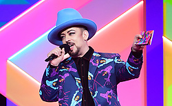 Boy George presents the award for Best Single during the Brit Awards 2021 at the O2 Arena, London. Picture date: Tuesday May 11, 2021.