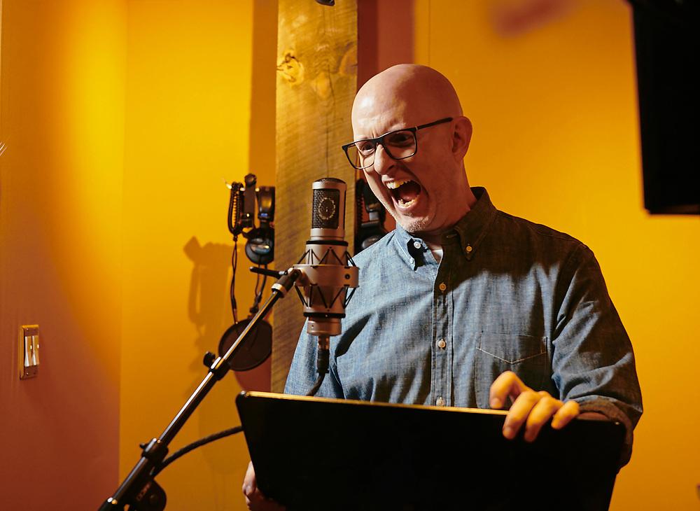 Musician and foley artist Michael Kohler photographed at Bluetube studios in Atlanta, GA.