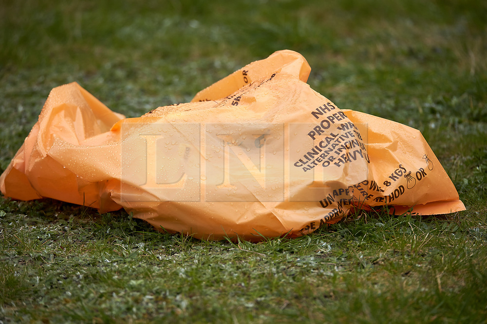 © Licensed to London News Pictures. 07/04/2021. WENDOVER, UK.  Medical items left at the scene on Aylesbury Road following a murder at around 5:30pm yesterday (Tue). A 77 year old man died after sustaining serious injuries inside a house. A 36 year old man has been arrested.  Photo credit: Cliff Hide/LNP