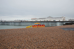 © Licensed to London News Pictures. 07/06/2014. Brighton UK. Lonely lifeguard station on Brighton beach Brighton's weekend starts with rain for the most part of the morning. The MET predicts better weather for this afternoon and tomorrow, Sunday 8th June. Photo credit : Hugo Michiels/LNP