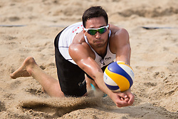 04.07.2013, Lake Szelag, Stare Jablonki, POL, FIVB Beach Volleyball Weltmeisterschaft, im Bild Annahme Jonathan Erdmann (#1 GER), // during the FIVB Beach Volleyball World Championships at the Lake Szelag, Stare Jablonki, Poland on 2013/07/04. EXPA Pictures © 2013, PhotoCredit: EXPA/ Eibner/ Kurth ***** ATTENTION - OUT OF GER *****