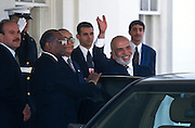 King Hussein of Jordan waves as he leaves the White House April 1,1997, after meeting with President Bill Clinton.