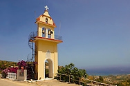 The Orthodox church tower of Panagia of Langouvarda at the foot of which The Virgin Mary's Snakes appear between August 5 and August 15.  Kefalonia, Greek Ionian Islands