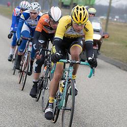 HOOGEVEEN wielrennen: De 55e ronde van Drenthe bracht het peloton over de Drentse keien en de kunstmatig aangelegde VAMberg in Wijster<br />Bert Jan Lindeman was zeer actief in de finale maar kon niet voor de tweede keer op rij de ronde vna Drenthe op zijn naam schrijven <br />NOVUM COPYRIGHT SPORTFOTO PHOTOAGENCY