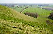 Steep chalk scarp slope looking south over Vale of Pewsey, near Knap Hill, Wiltshire, England, UK