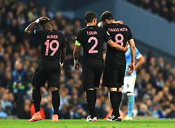 Thiago Motta of Paris Saint-Germain leaves the field with an injury - Mandatory byline: Matt McNulty/JMP - 07966386802 - 12/04/2016 - FOOTBALL - Etihad Stadium -Manchester,England - Manchester City v Paris Saint-Germain - UEFA Champions League - Quarter Final Second Leg