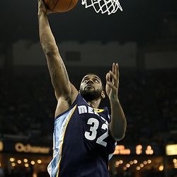April 1, 2011; New Orleans, LA, USA; Memphis Grizzlies shooting guard O.J. Mayo (32) shoots against the New Orleans Hornets during the second quarter at the New Orleans Arena.    Mandatory Credit: Derick E. Hingle