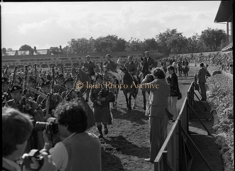 Aga Khan Cup at the RDS.    (R39)..1986..08.08.1986..8th August 1986..The annual Aga Khan Cup competition was held at the RDS ( Royal Dublin Showgrounds) today. In a keenly contested competition The Great Britain team emerged victorious. The Great Britain team was led by Chef dEquipe Mr Ronnie Massarella..Image shows the Great Britain team of Nick Skelton, Michael Whitaker,Peter Charles and John Whitaker leading the parade after victory in the Aga Khan Cup.