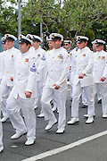 Australian Navy sailors from HMAS Cairns marching during ANZAC Day parade 2010. <br /> <br /> Editions:- Open Edition Print / Stock Image