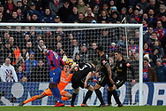 Christian Benteke of Crystal Palace's (L) watches his header at goal saved by Karl Darlow , the goalkeeper of Newcastle United  (c. Premier League match, Crystal Palace v Newcastle Uutd at Selhurst Park in London on Sunday 4th February 2018. pic by Steffan Bowen, Andrew Orchard sports photography.