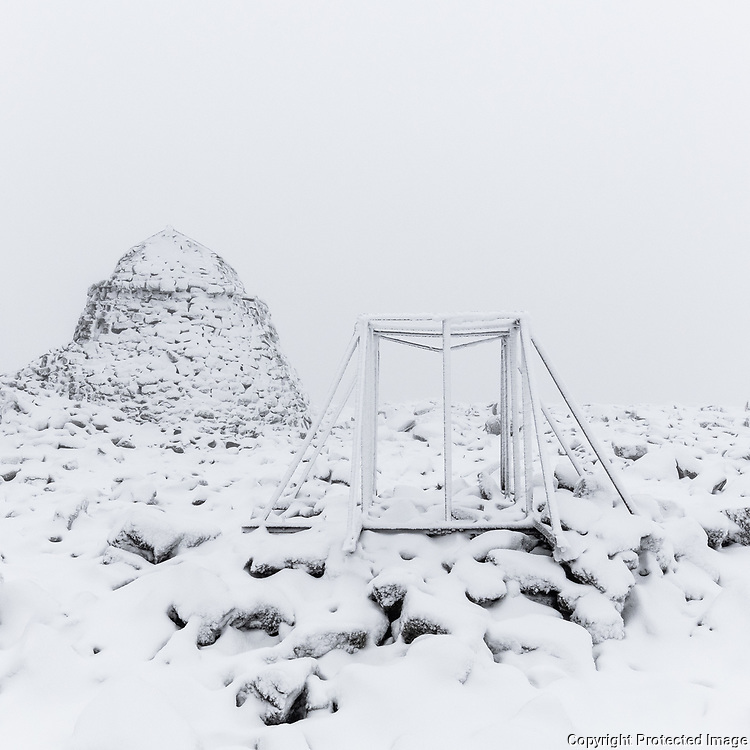 2.33pm  Instrument frame with summit refuge, Ben Nevis, Highland, Scotland.