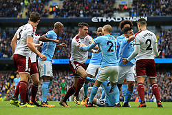 21st October 2017 - Premier League - Manchester City v Burnley - Stephen Ward of Burnley argues with David Silva of Man City as players clash following a penalty decision - Photo: Simon Stacpoole / Offside.