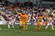 Jon Parkin of Newport county (c) celebrates after he scores his teams 1st goal to equalise at 1-1. EFL Skybet football league two match, Newport county v Cheltenham Town at Rodney Parade in Newport, South Wales on Saturday 10th September 2016.<br /> pic by Andrew Orchard, Andrew Orchard sports photography.