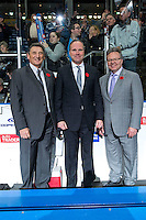 KELOWNA, CANADA - NOVEMBER 9: Don Hay, Dave Lowry and Kelly McCrimmon, coaching staff for Team WHL stand on the bench at the end of the game against the Team Russia on November 9, 2015 during game 1 of the Canada Russia Super Series at Prospera Place in Kelowna, British Columbia, Canada.  (Photo by Marissa Baecker/Western Hockey League)  *** Local Caption *** Don Hay; Dave Lowry; Kelly McCrimmon;