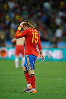 FOOTBALL - FIFA WORLD CUP 2010 - GROUP STAGE - GROUP H - SPAIN v SWITZERLAND - 16/06/2010 - PHOTO GUY JEFFROY / DPPI - DISAPPOINTMENT SERGIO RAMOS (SPA)
