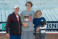 Alexander Zverev poses with the trophy with his father and his mother <br /> Roma 21-05-2017 Foro Italico <br /> Tennis Internazionali BNL d'Italia <br /> Photo Andrea Staccioli/Insidefoto