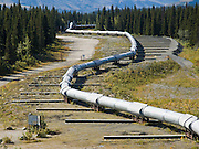 """The Trans Alaska Pipeline (or Alyeska Pipeline) crosses the Alaska Range and conveys crude oil 800 miles (1287 km) from Prudhoe Bay to Valdez, Alaska, USA. The Pipeline snakes above ground in """"S"""" shapes to enable expansion and contraction as weather varies. Horizontal slip-bars allow for sliding in a severe earthquake. The 48-inch diameter (122 cm) pipeline is privately owned by the Alyeska Pipeline Service Company. The Trans Alaska Pipeline System (TAPS) includes """"The Pipeline"""", several hundred miles of feeder pipelines, 11 pump stations, and the Valdez Marine Terminal. Environmental, legal, and political debates followed the discovery of oil at Prudhoe Bay in 1968. After the 1973 oil crisis caused a sharp rise in oil prices in the United States and made exploration of the Prudhoe Bay oil field economically feasible, legislation removed legal challenges and the pipeline was built 1974-1977. Extreme cold, permafrost, and difficult terrain challenged builders. Tens of thousands of workers flocked to Alaska, causing a boomtown atmosphere in Valdez, Fairbanks, and Anchorage. Oil began flowing in 1977. The pipeline delivered the oil spilled by the huge 1989 Exxon Valdez oil tanker disaster, which caused environmental damage expected to last 20-30 years in Prince William Sound."""