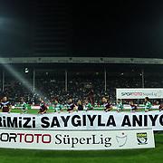 Bursaspor's and Trabzonspor's players during their Turkish soccer superleague match Bursaspor between Trabzonspor at Ataturk Stadium in Bursa Turkey on Saturday, 22 October 2011. Photo by TURKPIX