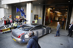 © Licensed to London News Pictures. 09/05/2017. London, UK. Prime Minister Theresa May and her husband Philip are driven in to Broadcasting House to avoid protestors. Mr and Mrs May are appearing together on the prime time show ahead of various appearances by all party leaders on TV in the run up to the general election on June 8, 2017. Photo credit: Peter Macdiarmid/LNP