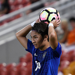 BRISBANE, AUSTRALIA - JANUARY 31: Hikaru Minegishi of Global FC throws in during the second qualifying round of the Asian Champions League match between the Brisbane Roar and Global FC at Suncorp Stadium on January 31, 2017 in Brisbane, Australia. (Photo by Patrick Kearney/Brisbane Roar)