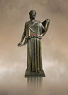 Roman Bronze sculpture of a Dancing Women from the square peristyle of the Villa of the Papyri in Herculaneum, Museum of Archaeology, Italy ..<br /> <br /> If you prefer to buy from our ALAMY STOCK LIBRARY page at https://www.alamy.com/portfolio/paul-williams-funkystock/greco-roman-sculptures.html . Type -    Naples    - into LOWER SEARCH WITHIN GALLERY box - Refine search by adding a subject, place, background colour, museum etc.<br /> <br /> Visit our ROMAN WORLD PHOTO COLLECTIONS for more photos to download or buy as wall art prints https://funkystock.photoshelter.com/gallery-collection/The-Romans-Art-Artefacts-Antiquities-Historic-Sites-Pictures-Images/C0000r2uLJJo9_s0