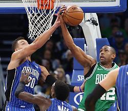 November 5, 2017 - Orlando, FL, USA - Orlando Magic forward Aaron Gordon (00) blocks the shot of Boston Celtics forward Al Horford (42) on Sunday, Nov. 5, 2017 at the Amway Center in Orlando, Fla. (Credit Image: © Stephen M. Dowell/TNS via ZUMA Wire)