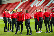 Wales players on the pitch ahead of the Friendly European Championship warm up match between Wales and Trinidad and Tobago at the Racecourse Ground, Wrexham, United Kingdom on 20 March 2019.