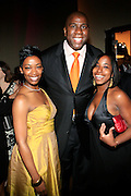 """Felicia Fletcher, Alize Diamond Awardee, Magic Johnson and Cheryl Talley, Alize Brand Manager at The Ludacris Foundation 5th Annual Benefit Dinner & Casino Night sponsored by Alize, held at The Foundry at Puritan Mill in Atlanta, Ga on May 15, 2008.. Chris """"Ludacris"""" Bridges, William Engram and Chaka Zulu were the inspiration for the development of The Ludacris Foundation (TLF). The foundation is based on the principles Ludacris learned at an early age: self-esteem, spirituality, communication, education, leadership, goal setting, physical activity and community service. Officially established in December of 2001, The Ludacris Foundation was created to make a difference in the lives of youth. These men have illustrated their deep-rooted tradition of community service, which has broadened with their celebrity status. The Ludacris Foundation is committed to helping youth help themselves."""