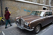 Vintage Rolls Royce car on Brick Lane, London, UK.