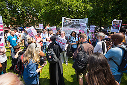 London, June 21st 2017. Protesters march through London from Sheherd's Bush Green in what the organisers call 'A Day Of Rage' in the wake of the Grenfell Tower fire disaster. The march is organised by the Movement for Justice By Any Means Necessary and coincides with the Queen's Speech at Parliament, the destination. PICTURED: