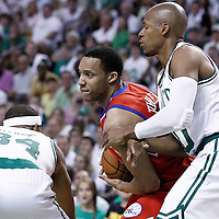 26 May 2012: Philadelphia Sixers shooting guard Evan Turner (12) drives past Boston Celtics shooting guard Ray Allen (20) during the Boston Celtics 85-75 victory over the Philadelphia Sixer, in Game 7 of the Eastern Conference semifinals playoff series, at the TD Banknorth Garden, Boston, Massachusetts, USA.