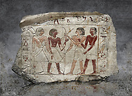 Ancient Egyptian stele of  2 pairs of archers of different ethnic groups, limestone, First Inttermediate Period, (2118-1980 BC), Goblein, Tomb of iti and Neferu, 88967-960-Senebetysy-Stele-Ancient-Egypt Egyptian Museum, Turin. <br /> <br /> The stele was wedged into a painting in the east wall of the hallway, Schiaparelli cat 13115
