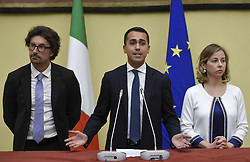 Italy, Rome - April 24, 2018.The leaders of Five Star Moviment (M5S) Danilo Toninelli (R), Luigi Di Maio  (C) and Giulia Grillo (L) talk to the media after a meeting with Lower House Speaker Roberto Fico for a round of consultations in Rome, Italy, 24 April 2018. (Credit Image: © Mistrulli/Fotogramma/Ropi via ZUMA Press)