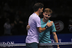 November 18, 2017 - London, England, United Kingdom - David Goffin of Belgium is congratulated by Roger Federer (L) of Switzerland in the semi finals during day seven of the Nitto ATP World Tour Finals tennis at the O2 Arena on November 18, 2017 in London, England. (Credit Image: © Alberto Pezzali/NurPhoto via ZUMA Press)