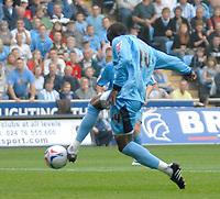 Photo: Ed Godden.<br />Coventry City v Leeds United. Coca Cola Championship. 16/09/2006. Coventry's Stern John scores to make it 1-0.