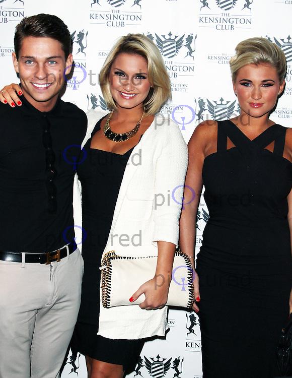 LONDON - July 20:  Sam Faiers; Joey Essex; Billie Faiers at the Kensington Club Celebrity Launch (Photo by Brett D. Cove)