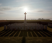 Set among idyllic fields of corn, the WW1 Somme cemetery of Redan Ridge, Serre Road, near Serre-Les-Puisieux, France - once the location of fierce  first world war battle.