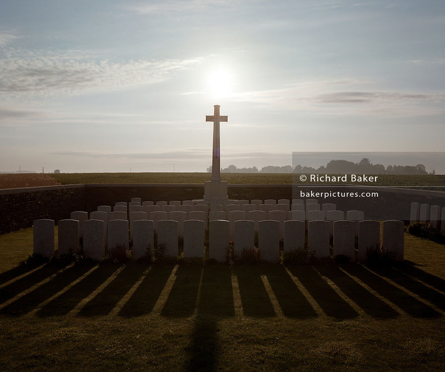 Set among idyllic fields of corn, the WW1 Somme cemetery of Redan Ridge, Serre Road, near Serre-Les-Puisieux, France - once the location of fierce  first world war battle.
