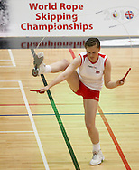 Loughborough, England - Saturday 31 July 2010: An England team competitor in action during the World Rope Skipping Championships held at Loughborough University, England. The championships run over 7 days and comprise junior categories for 12-14 year olds in the World Youth Tournament, 15-17 year olds male and female championships, and any age open championships. In the team competitions, 6 events are judged, the Single Rope Speed, Double Dutch Speed Relay, Single Rope Pair Freestyle, Single Rope Team Freestyle, Double Dutch Single Freestyle and Double Dutch Pair Freestyle. For more information check www.rs2010.org. Picture by Andrew Tobin/Picture It Now.