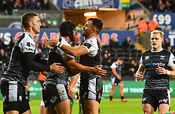 Dan Evans of Ospreys celebrates scoring his try with team mates<br /> <br /> Photographer Craig Thomas/Replay Images<br /> <br /> Guinness PRO14 Round 4 - Ospreys v Benetton Treviso - Saturday 22nd September 2018 - Liberty Stadium - Swansea<br /> <br /> World Copyright © Replay Images . All rights reserved. info@replayimages.co.uk - http://replayimages.co.uk