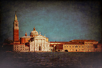"""""""View from the Grand Canal of the church of San Giorgio Maggiore in Venice - Dark""""…<br /> <br /> The first church on the island was built about 790, and in 982 the island was given to the Benedictine order by the Doge Tribuno Memmo. The Benedictines founded a monastery there, but in 1223 all the buildings on the island were destroyed by an earthquake. Andrea Palladio, an Italian Renaissance architect active in the Venetian Republic was commissioned for the rebuild. Palladio, influenced by Roman and Greek architecture, is widely considered to be one of the most influential individuals in the history of architecture, began the rebuild in 1560 and made dramatic improvements. The campanile was rebuilt in neo-classic style and completed in 1791. It was ascended by ramps and now an elevator to the top for panoramic views of Venice. The facade is brilliantly white and represents Palladio's solution to the difficulty of adapting a classical temple facade to the form of the Catholic Basilica. Two very large paintings by Tintoretto relate to the institution of the Eucharist and are located on either side of the presbytery, where they can be seen from the altar rail. """"The Last Supper"""" and """"The Jews in the Desert"""" (collecting and eating the manna, a gift of God to the Israelites in the Desert after they escaped Egypt, which foretells the gift of the Eucharist). Claude Monet painted a series of paintings of the island Monastery of San Giorgio Maggiore in 1908 during the artist's only visit to the city. One of the best known is """"San Giorgio Maggiore at Dusk"""", which exists in two versions. Monet completed his paintings of Venice at home in France and in 1912 showed them in Paris. Buyers included the Welsh collector Gwendoline Davies, who bought three paintings. This vision of the Church of San Giorgio is iconic and famous worldwide. My image capture while upon an evening boat excursion appears theatrical as if the majestic church is posing for yet another Venetian canvas."""