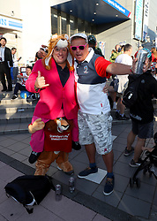Fans show their support ahead of the 2019 Rugby World Cup bronze final match at Tokyo Stadium.