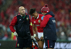 British and Irish Lions' Anthony Watson is checked over by the medical team during the second test of the 2017 British and Irish Lions tour at Westpac Stadium, Wellington.