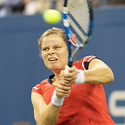 Kim Clijsters, Belgium, in action against Caroline Wozniacki, Denmark during the Women's Singles Final at  the US Open Tennis Tournament at Flushing Meadows, New York, USA, on Sunday, September 13, 2009. Photo Tim Clayton.