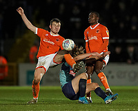 Blackpool's Jordan Thorniley and Marc Bola combiine to stop Wycombe Wanderers' Alex Samuel<br /> <br /> Photographer Lee Parker/CameraSport<br /> <br /> The EFL Sky Bet League One - Wycombe Wanderers v Blackpool - Tuesday 28th January 2020 - Adams Park - Wycombe<br /> <br /> World Copyright © 2020 CameraSport. All rights reserved. 43 Linden Ave. Countesthorpe. Leicester. England. LE8 5PG - Tel: +44 (0) 116 277 4147 - admin@camerasport.com - www.camerasport.com