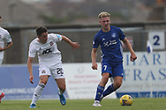 Peterhead's Hamish Ritchie (7) and cscores a goal 2-0 and celebrates, celebration battles for possession, tussles, tackles, challenges, during the Premier Sports Scottish League Cup match between Peterhead and Cove Rangers at Balmoor, Peterhead, Scotland on 17 July 2021.