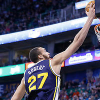 25 January 2016: Utah Jazz center Rudy Gobert (27) goes for the layup during the Detroit Pistons 95-92 victory over the Utah Jazz, at the Vivint Smart Home Arena, Salt Lake City, Utah, USA.