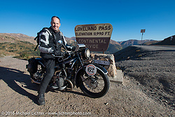 Scott Blaylock on his 1928 BMW R62 stops for a photo while crossing the Continental Divide at the top of Loveland Pass during Stage 10 (278 miles) of the Motorcycle Cannonball Cross-Country Endurance Run, which on this day ran from Golden to Grand Junction, CO., USA. Monday, September 15, 2014.  Photography ©2014 Michael Lichter.
