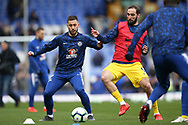Chelsea midfielder Eden Hazard (10) Chelsea forward Gonzalo Higuain (9) during the Premier League match between Everton and Chelsea at Goodison Park, Liverpool, England on 17 March 2019.